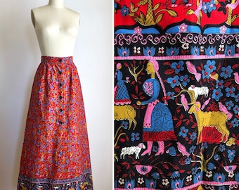 1970s novelty maxi skirt XS ~ vintage cotton button down skirt