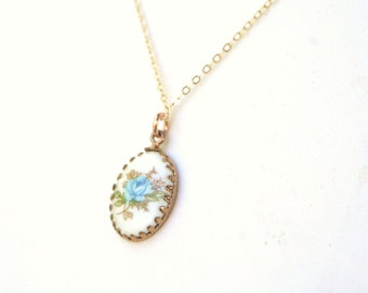Vintage Blue Rose Hand Painted Flower Porcelain Charm Gold Filled Chain Necklace