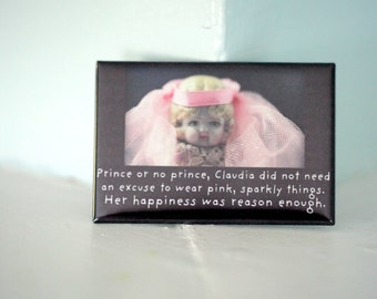 """Rectangle Magnet Refrigerator Magnet """"Prince or No Prince"""" Porcelain Doll Claudia Typographic Magnet Typography"""