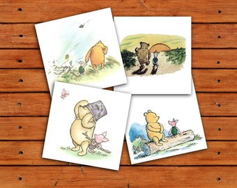 Classic Winnie the Pooh and Piglet 5x5 Prints - Instant Download - 1 PDF and 4 JPEGs