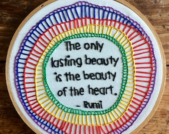 Lasting Beauty - hand embroidery hoop art