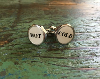 Hot Cold Cufflinks /Mens cufflinks /Custom groom cufflinks /Personalised cufflinks /Gifts for him /Boutons de manchette