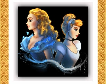 BUY 2, GET 1 FREE! Cinderella Ella and Cindy 221 Cross Stitch Pattern Counted Cross Stitch Chart, Pdf Format, Instant Download /181181
