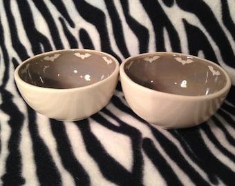 Set of Two Small Grey Bat Snack Bowls Handmade OHIO USA Ceramic Pottery Tattoo