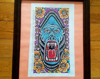 Yelling Gorilla & Flowers - Traditional Tattoo Flash Style