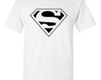 Superman Black Logo White T-Shirt