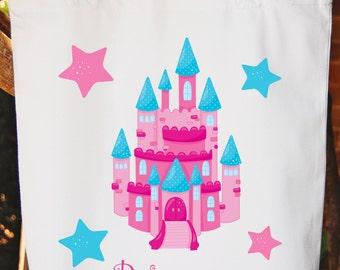 Princess Tote Bag -- Girls Bag -- White Cotton Tote Bag --  Princess Bag Any wording