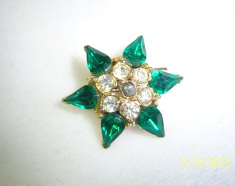 Green and Clear Glass Crystal Star Scatter Pin