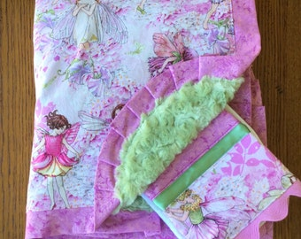 Pink and Green Beautiful Enchanted Fairy Minky Blanket and Burp Cloth Set...Can Be Personalized