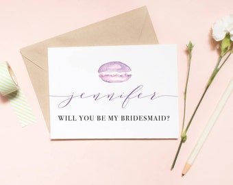 Customized Will You Be My Bridesmaid Card, Maid of honor proposal card, macaron card, french macarons proposal / SKU: LNBM18
