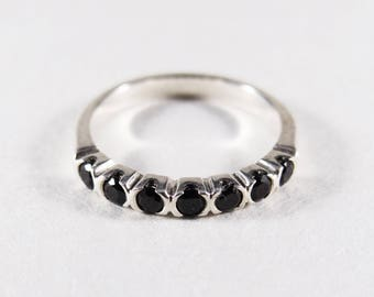 Sterling Silver Black Spinel Stacking Band