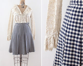 1950s Skirt Small - 50s Knee Skirt - Size XS Extra Small - Wool - Pleated - Midcentury - Blue and White - Houndstooth - Rockabilly Pinup