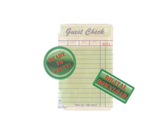 Blank Antiqued Guest Check Printable Digital Retro Diner Decor 1950s Aged Old Diner Style Paper Card Digital Tattered Water Stained Ephemera