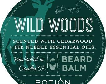 BEARD BALM   Wild Woods   CEDAR Wood and Fir Needle Essential Oils   Argan Oil, Beeswax