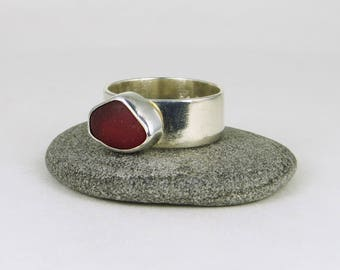 Deep UV Red Sea Glass Bezel Ring Maine Size 8