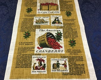 Vintage Print Linen Tea Towel - The American Cranberry by Kay Dee Prints  T42