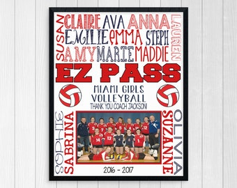VOLLEYBALL COACH GIFT ~ Personalized Volleyball Team Photo ~ End of Season Volleyball Team Gift ~ Printable Volleyball Coaches Thank You