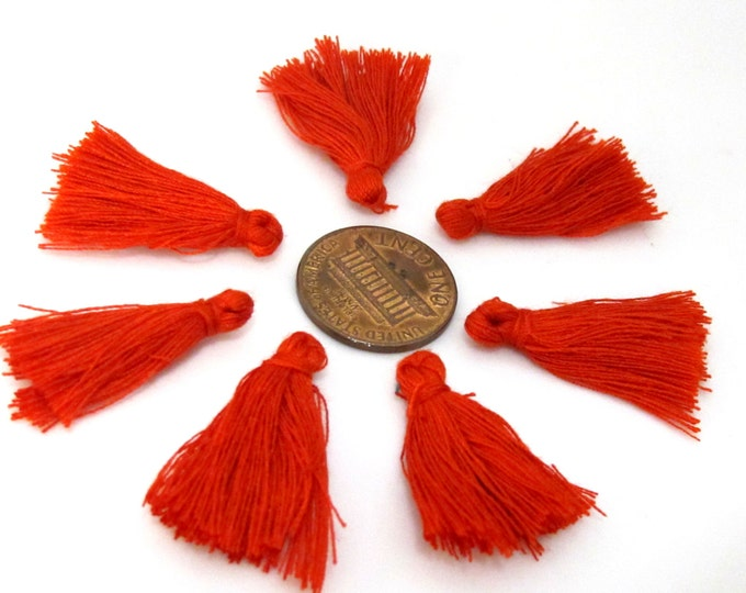 10 Pieces  - Small mini size red color silky tassel charms tassle fringe mala supply 1 inch - TS011s