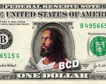 BLACK JESUS on a Real Money - Custom Dollar Bill Art - Cash
