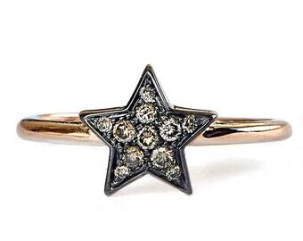 Brown diamonds engagement ring, 18k rose gold band, rose gold engagement ring,  minimalist engagement rings, promise ring for her, gold ring