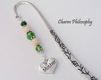 Mother Bookmark - Mother's Day Gift - Unique Bookmarks - Tibetan Silver Beaded Bookmark