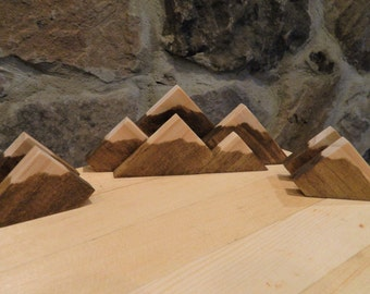 Set of Rustic Mountain Snow Capped Wood Business Card Display Holders - Mountain Series Collection