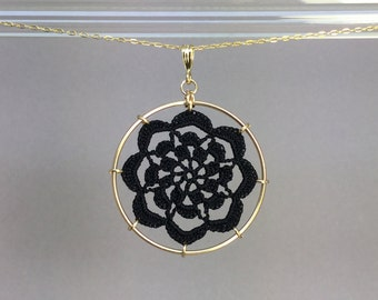 Serendipity doily necklace, black silk thread, 14K gold-filled