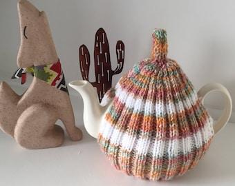 Tweed Orange Tea Cosy - 4-6 cup pot knitted orange tea cozy