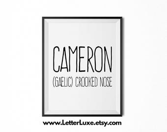 Cameron Printable Kids Gift - Name Meaning Art - Baby Shower Gift - Nursery Art - Digital Print - Nursery Decor - Typography Wall Decor
