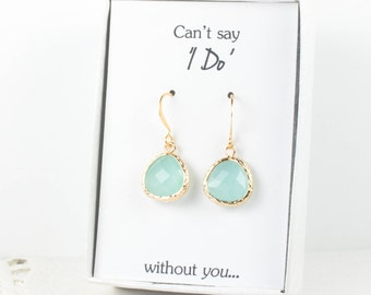Mint Gold Earrings, Mint Green Earrings, Bridesmaid Earrings, Green Wedding Jewelry, Wedding Accessories, Bridesmaid Gift, Mint Jewelry