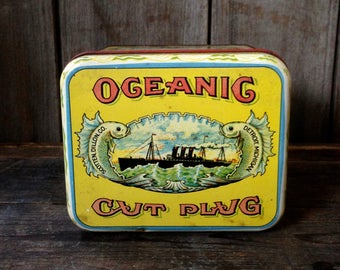 1950's oceanic cut plug tobacco tin / vintage tobacco tin / collectible tobacco tin / vintage nautical tin /