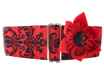 1.5 Inch Martingale Collar and Collar Flower, Christmas Martingale, Red and Black Martingale Collar, Damask Dog Collar, Greyhound Martingale
