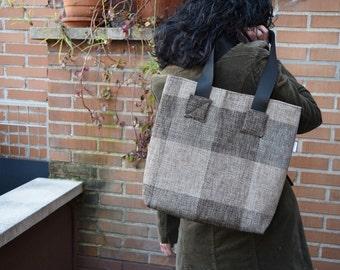 Canvas tote,canvas tote bag,squares tote,black tote,canvas purse bag,shopping bag,brown tote bag,tweed totes,womens tote bag,fabric purse