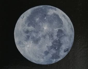 Full Moon painting on canvas and wood
