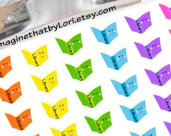 Library reminder planner stickers