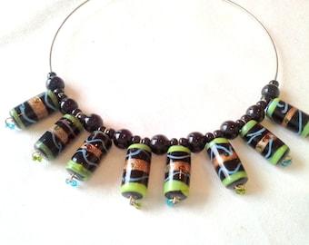 Round neck black and green ethnic