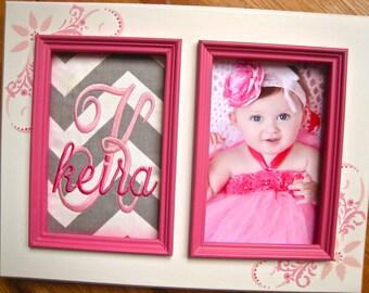 Personalized baby girl 5x7 frame Newborn gift Custom baby shower gift Pink & gray nursery Girl birthday gift Personalized girl baptism gift