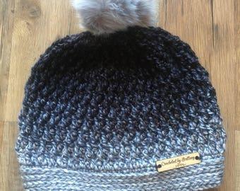 Crochet ombre Pom pom hat