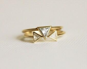 Diamond Engagement Ring Set, Diamond Engagement Set, Trillion Engagement Ring, Trillion Diamond Ring, Triangle Diamond Ring, Unique Ring Set