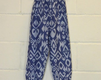 Upcycled Abstract Print Blue Trousers Sample