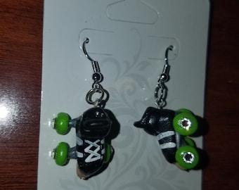 Roller derby skate earrings