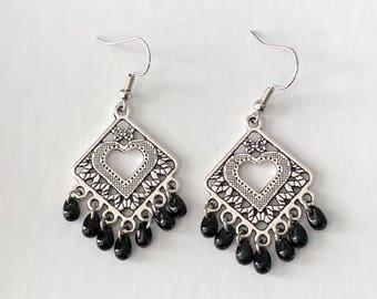 Black Glass Bead Earrings, Antiqued Tibetan Silver Earrings, Heart Earrings, Silver Chandelier Earrings, Handmade Earrings
