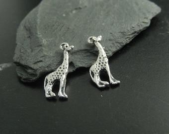 2 silver giraffe charms