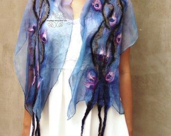 Longue écharpe boho foulard mariée mode féminin floral fée merino vêtements Bohème cadeau de mariage pour les femmes en feutre nuno bleu
