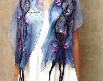 Blue nuno felt long scarf boho wedding bridal scarf fashion feminine floral fairy merino Bohemian clothing gift for women
