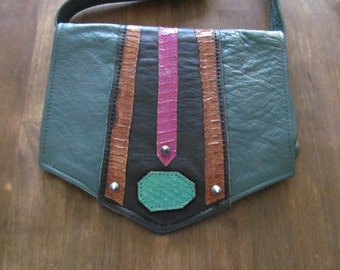 Vintage 1980's Green Leather Purse With Spikes