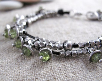 Leather and Silver Bracelet with Peridot