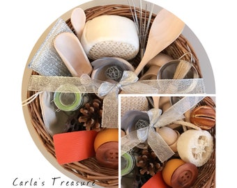 Carla's Treasure Basket / sensory rich items / open ended play / sensory basket / Montessori / gift / wooden educational toys
