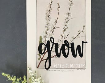 Vintage Floral Book Page: Grow, Floral Art, Vintage Flower Page, Grow Art, Grow Quote