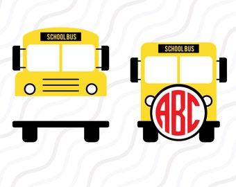 School Bus SVG, Back to School SVG,School Bus Monogram SVG Cut table Design,svg,dxf,png Use With Silhouette Studio & Cricut_Instant Download